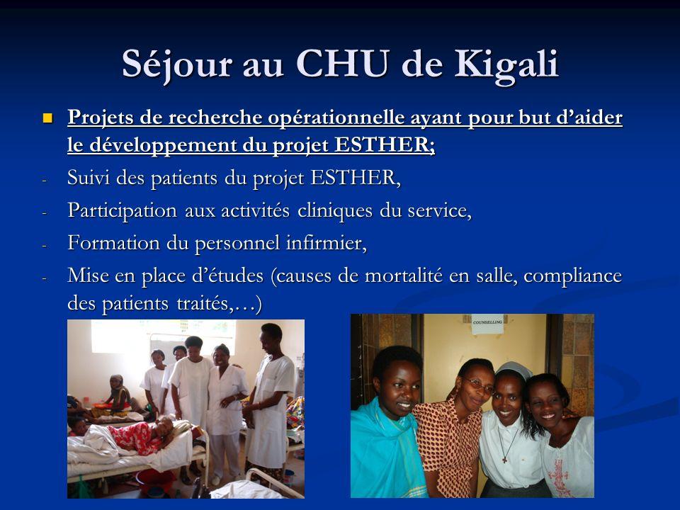 Séjour au CHU de Kigali Projets de recherche opérationnelle ayant pour but d'aider le développement du projet ESTHER;