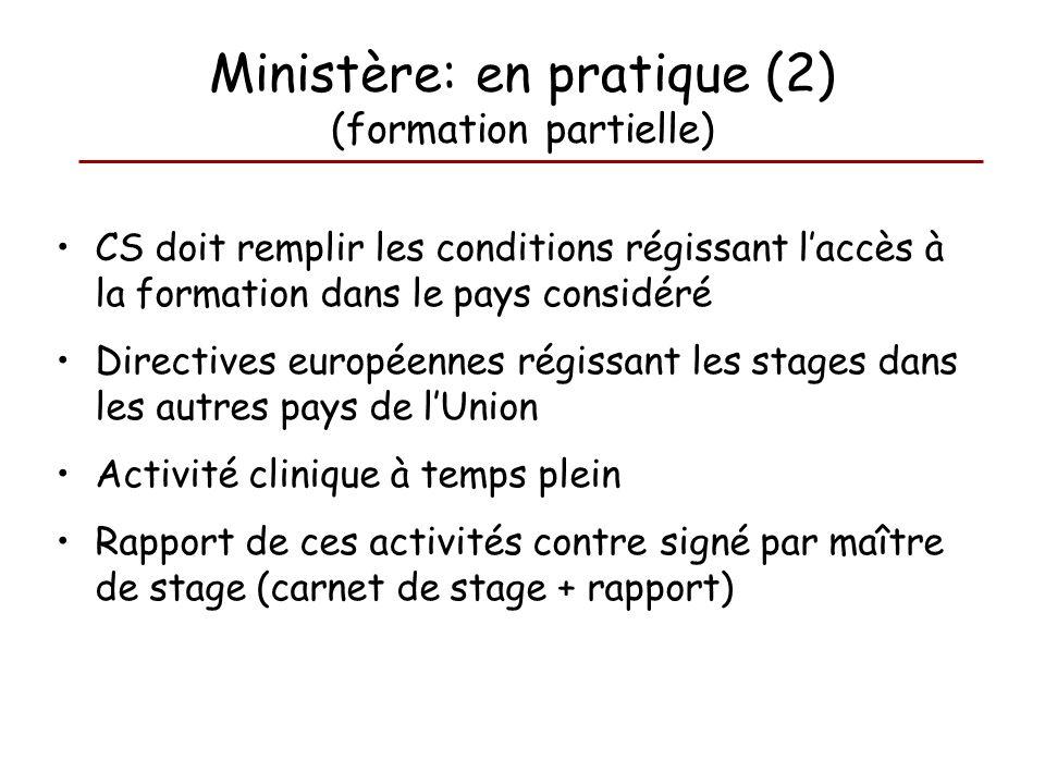 Ministère: en pratique (2) (formation partielle)