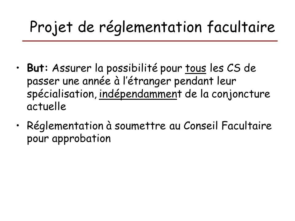 Projet de réglementation facultaire