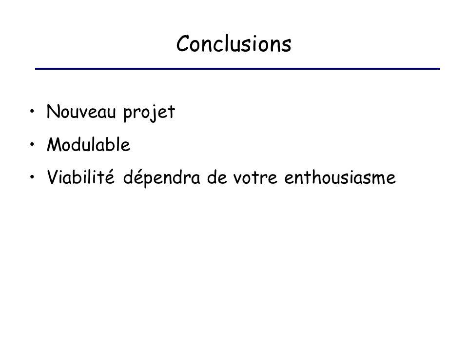 Conclusions Nouveau projet Modulable