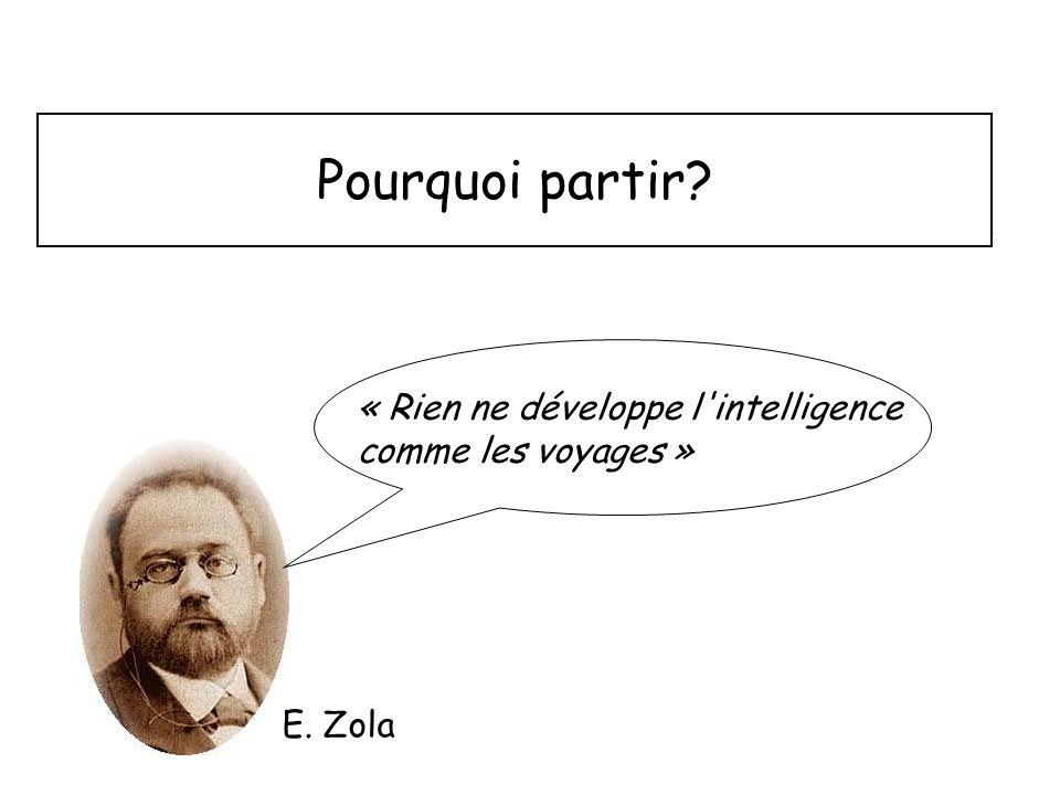 Pourquoi partir « Rien ne développe l intelligence comme les voyages » E. Zola