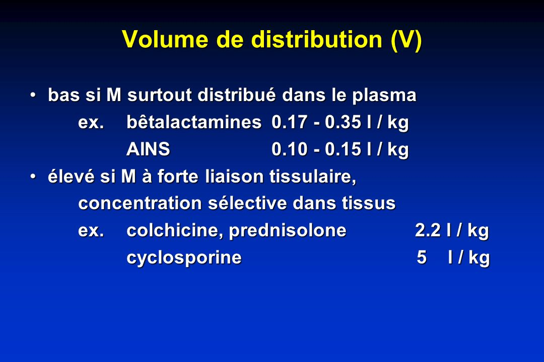 Volume de distribution (V)