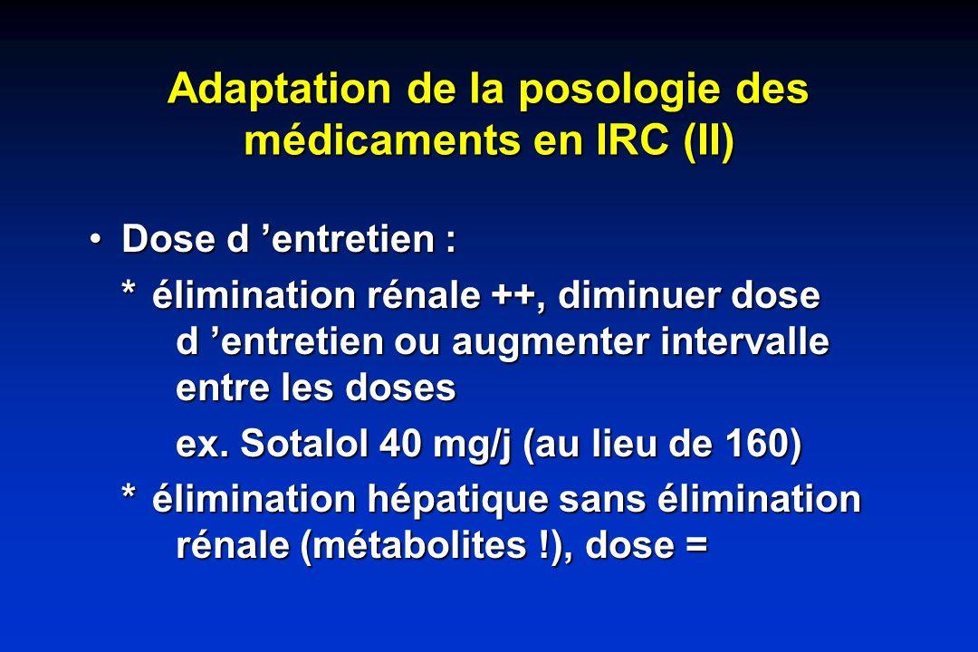 Adaptation de la posologie des médicaments en IRC (II)