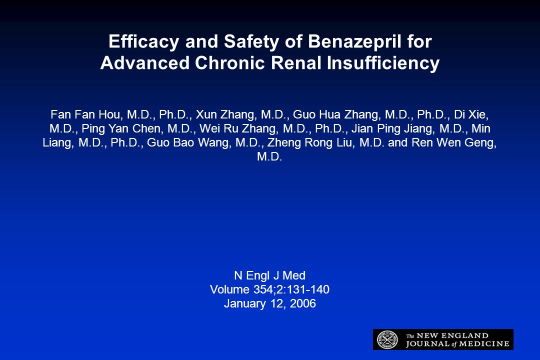 Efficacy and Safety of Benazepril for