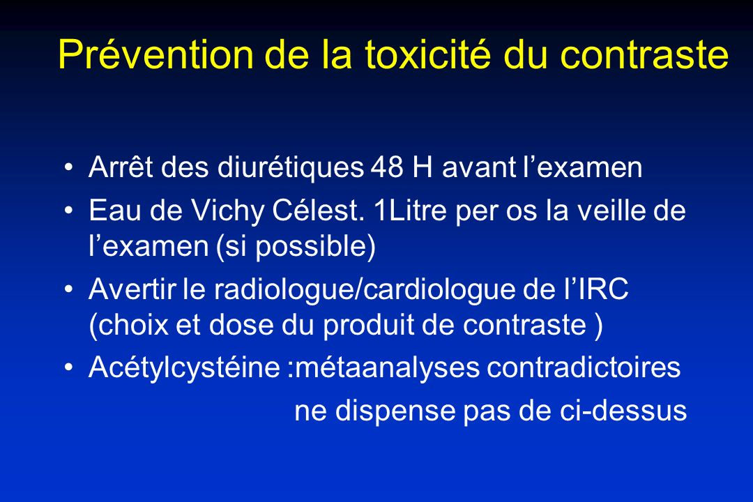 Prévention de la toxicité du contraste