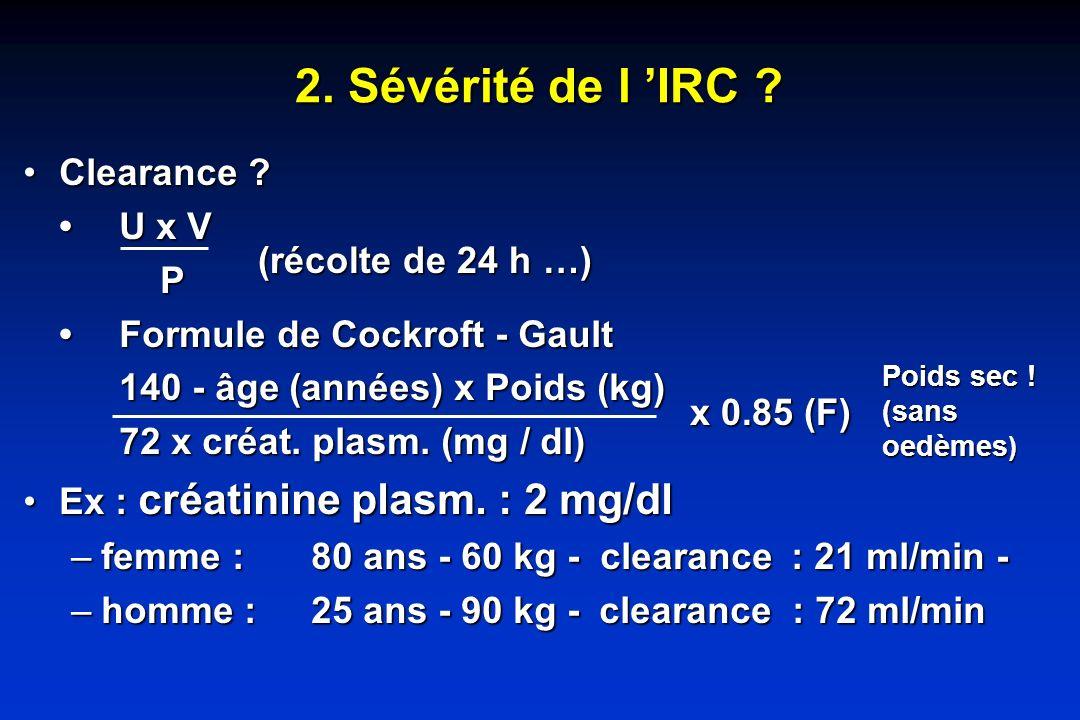 2. Sévérité de l 'IRC Clearance • U x V P