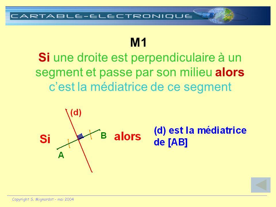 M1 Si une droite est perpendiculaire à un segment et passe par son milieu alors c'est la médiatrice de ce segment