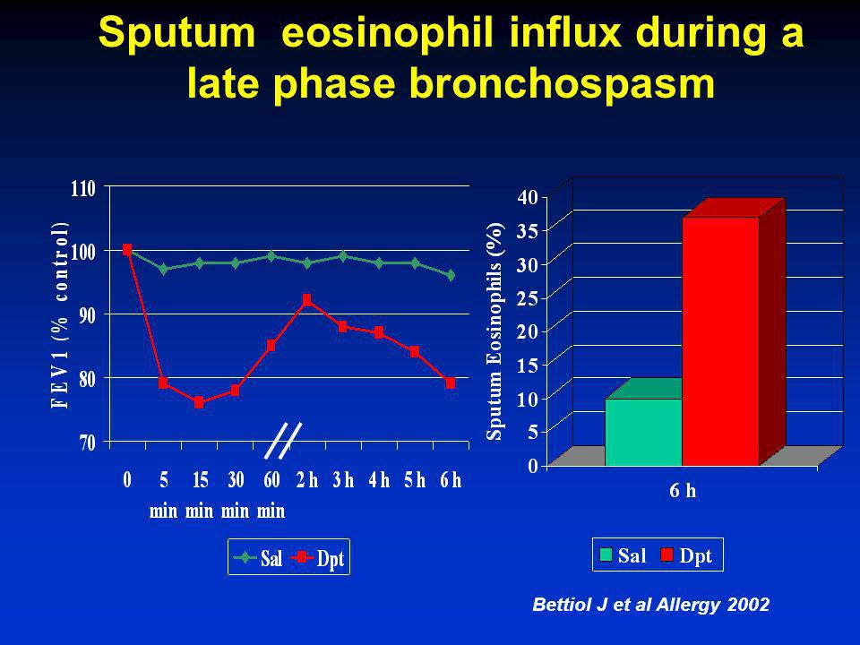 Sputum eosinophil influx during a late phase bronchospasm