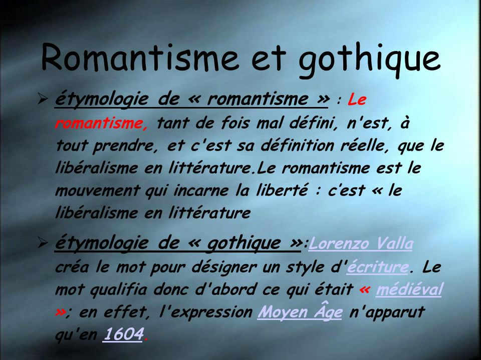 Romantisme et gothique