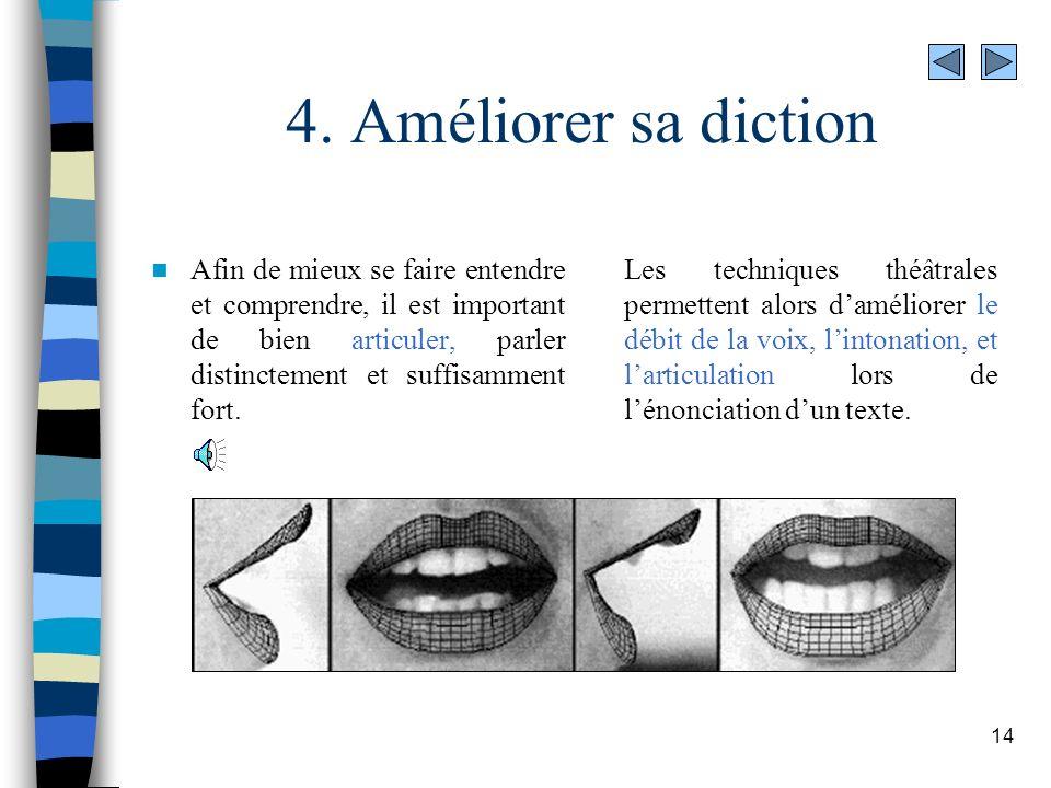 4. Améliorer sa diction Afin de mieux se faire entendre et comprendre, il est important de bien articuler, parler distinctement et suffisamment fort.