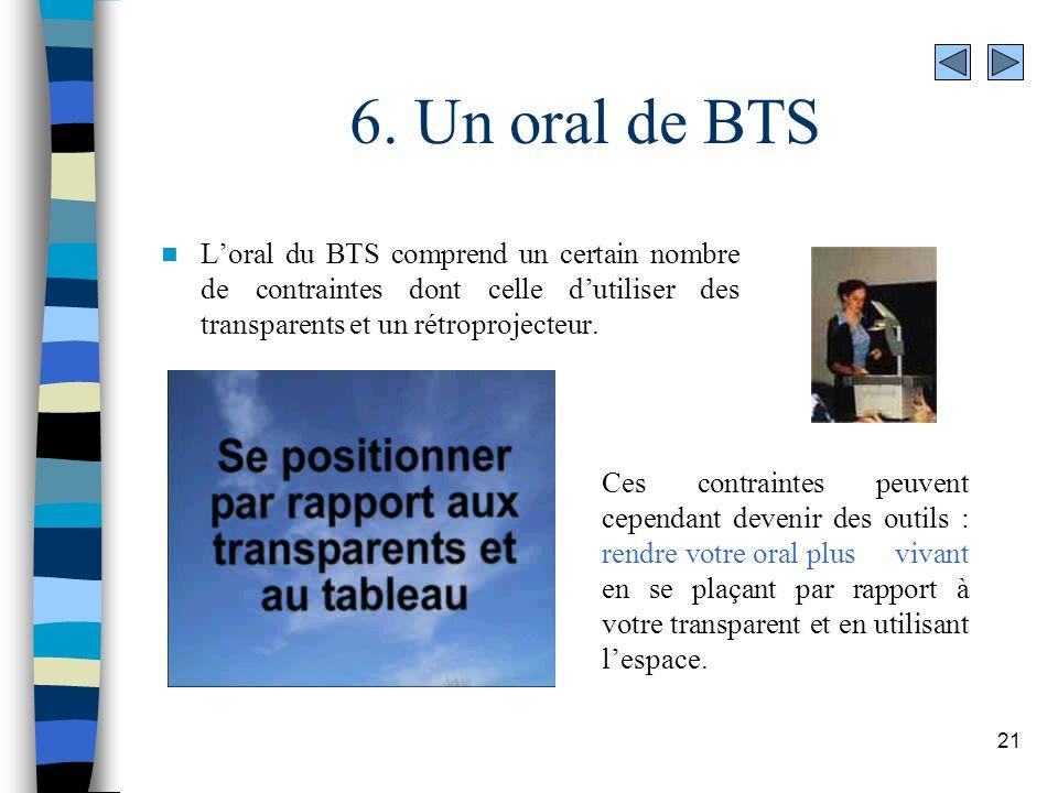 6. Un oral de BTS L'oral du BTS comprend un certain nombre de contraintes dont celle d'utiliser des transparents et un rétroprojecteur.