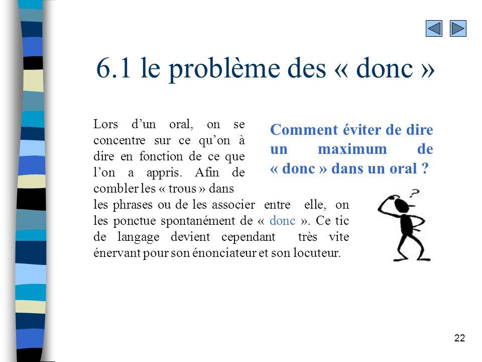 6.1 le problème des « donc »