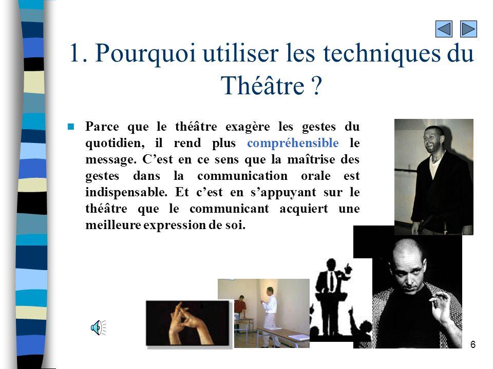 1. Pourquoi utiliser les techniques du Théâtre
