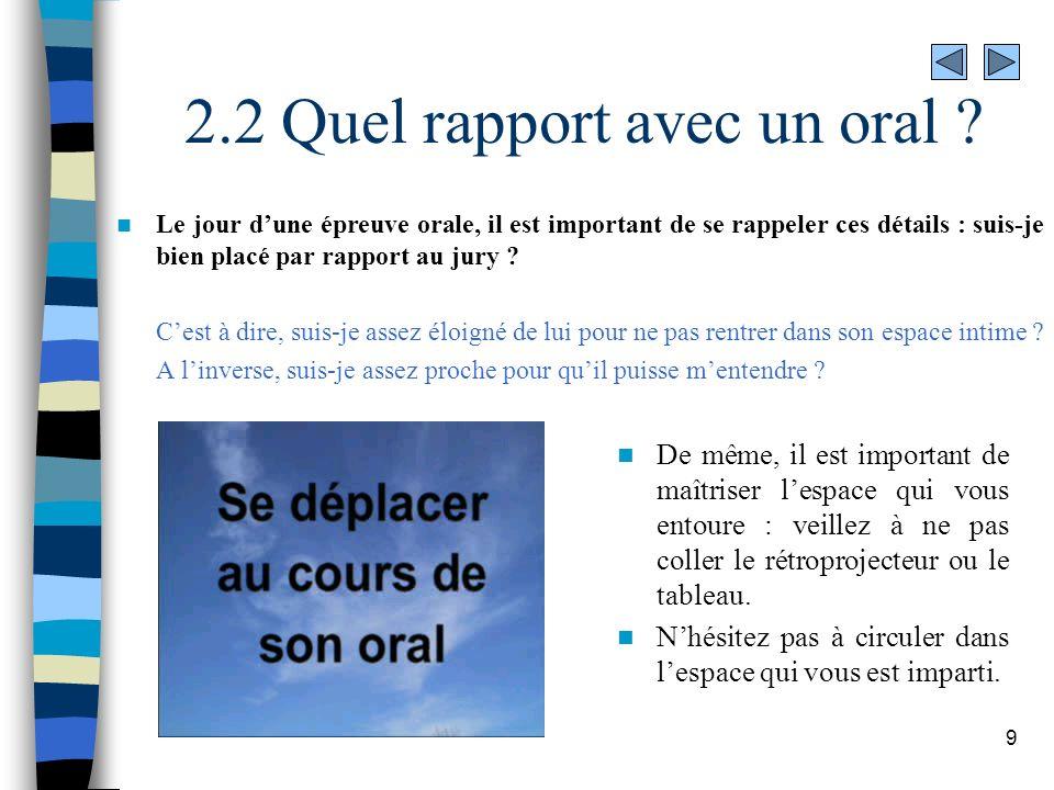 2.2 Quel rapport avec un oral