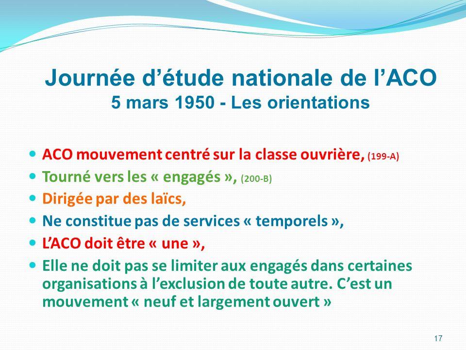 Journée d'étude nationale de l'ACO 5 mars 1950 - Les orientations