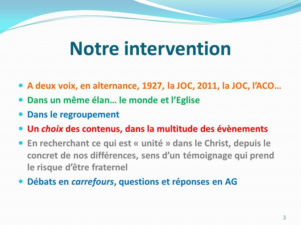 Notre intervention A deux voix, en alternance, 1927, la JOC, 2011, la JOC, l'ACO… Dans un même élan… le monde et l'Eglise.