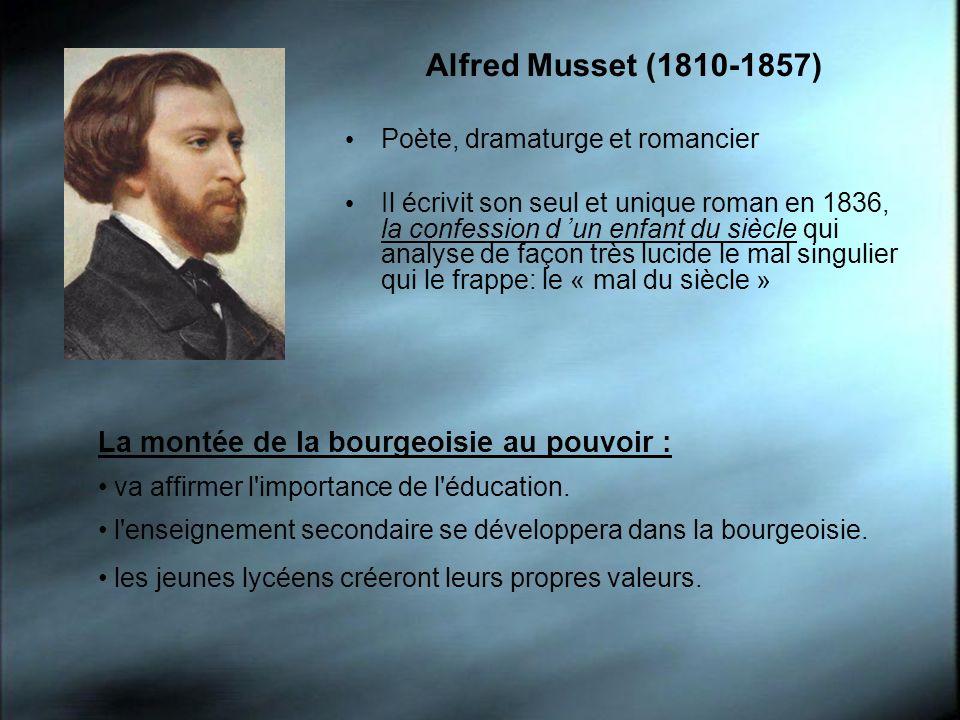 Alfred Musset (1810-1857) La montée de la bourgeoisie au pouvoir :