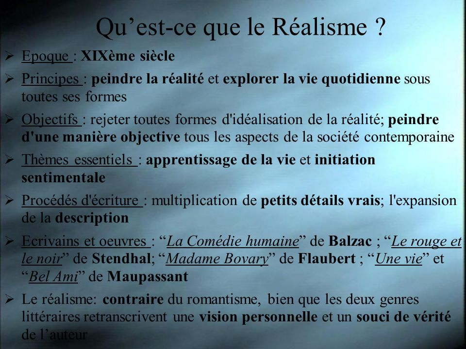 Qu'est-ce que le Réalisme