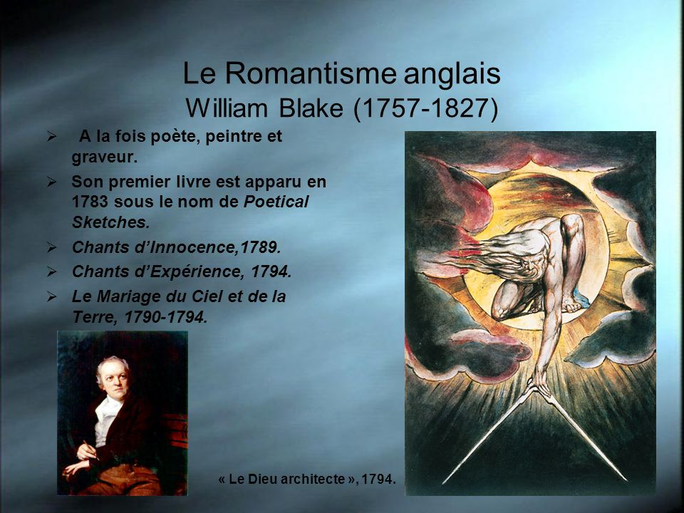 Le Romantisme anglais William Blake (1757-1827)
