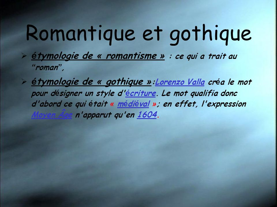 Romantique et gothique