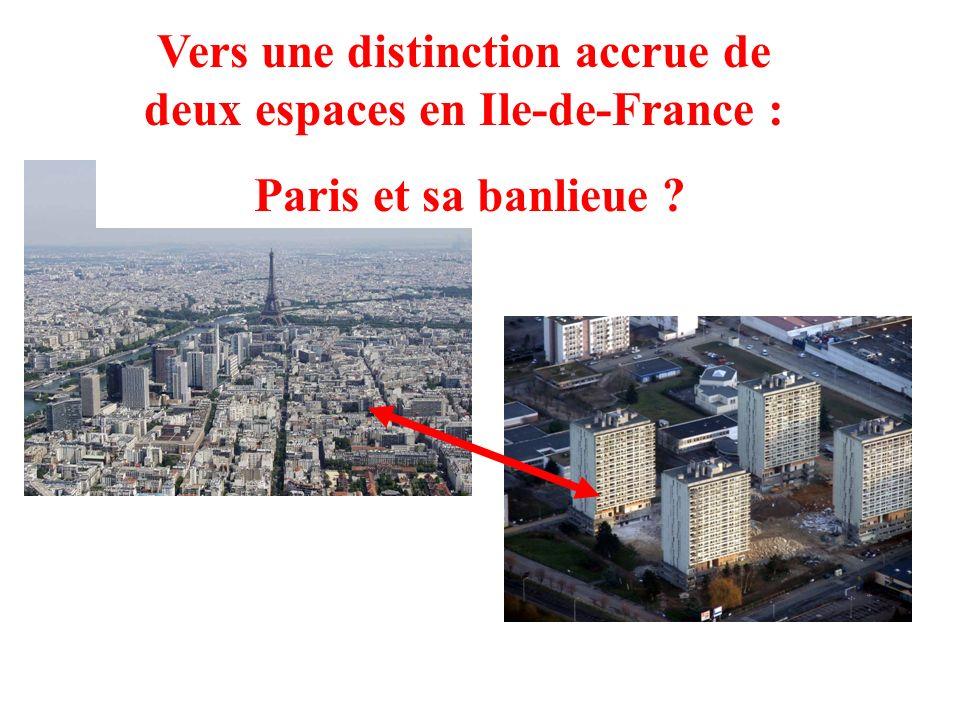 Vers une distinction accrue de deux espaces en Ile-de-France :
