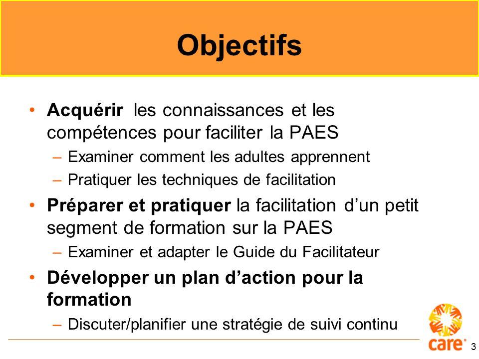 Objectifs Acquérir les connaissances et les compétences pour faciliter la PAES. Examiner comment les adultes apprennent.