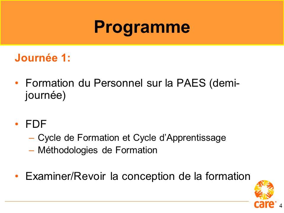 Programme Journée 1: Formation du Personnel sur la PAES (demi-journée)