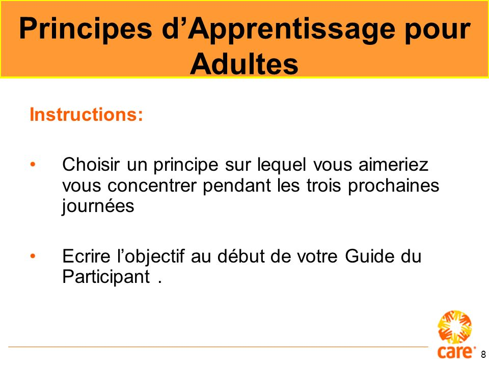 Principes d'Apprentissage pour Adultes