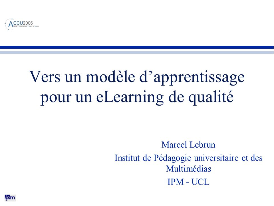 Vers un modèle d'apprentissage pour un eLearning de qualité