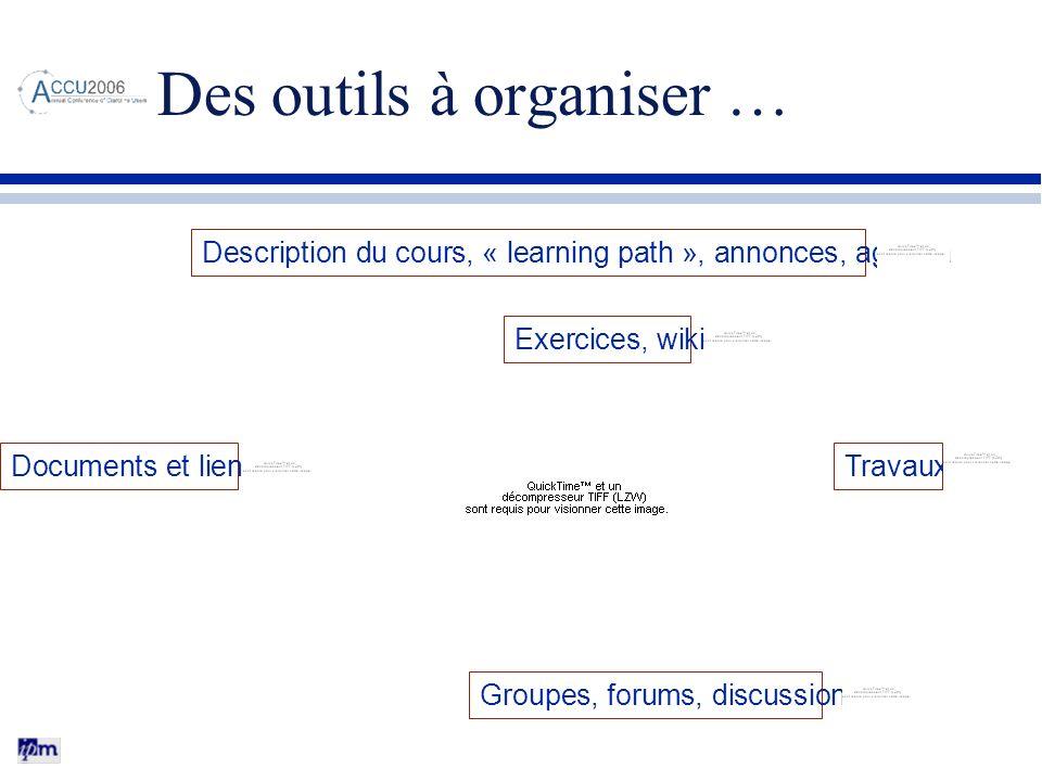 Des outils à organiser …