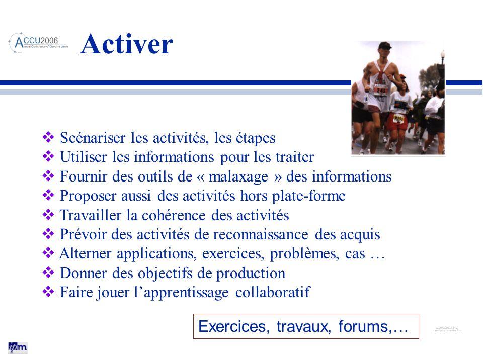 Activer Scénariser les activités, les étapes