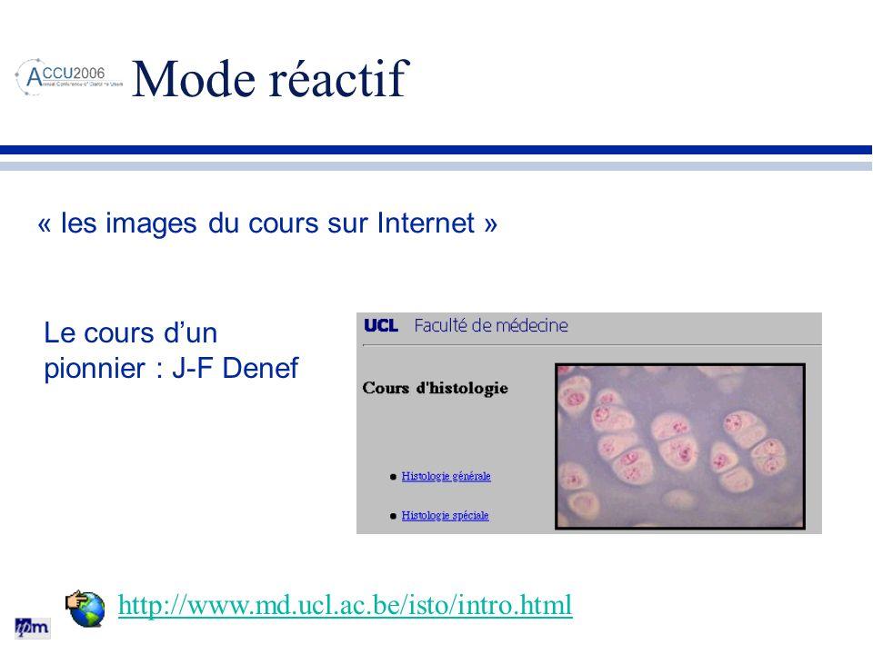 Mode réactif « les images du cours sur Internet » Le cours d'un