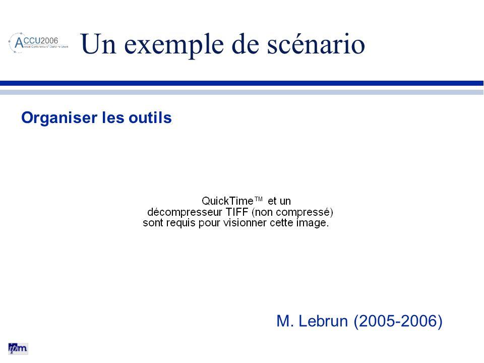 Un exemple de scénario Organiser les outils M. Lebrun (2005-2006)