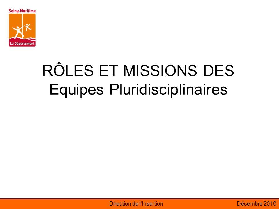 RÔLES ET MISSIONS DES Equipes Pluridisciplinaires