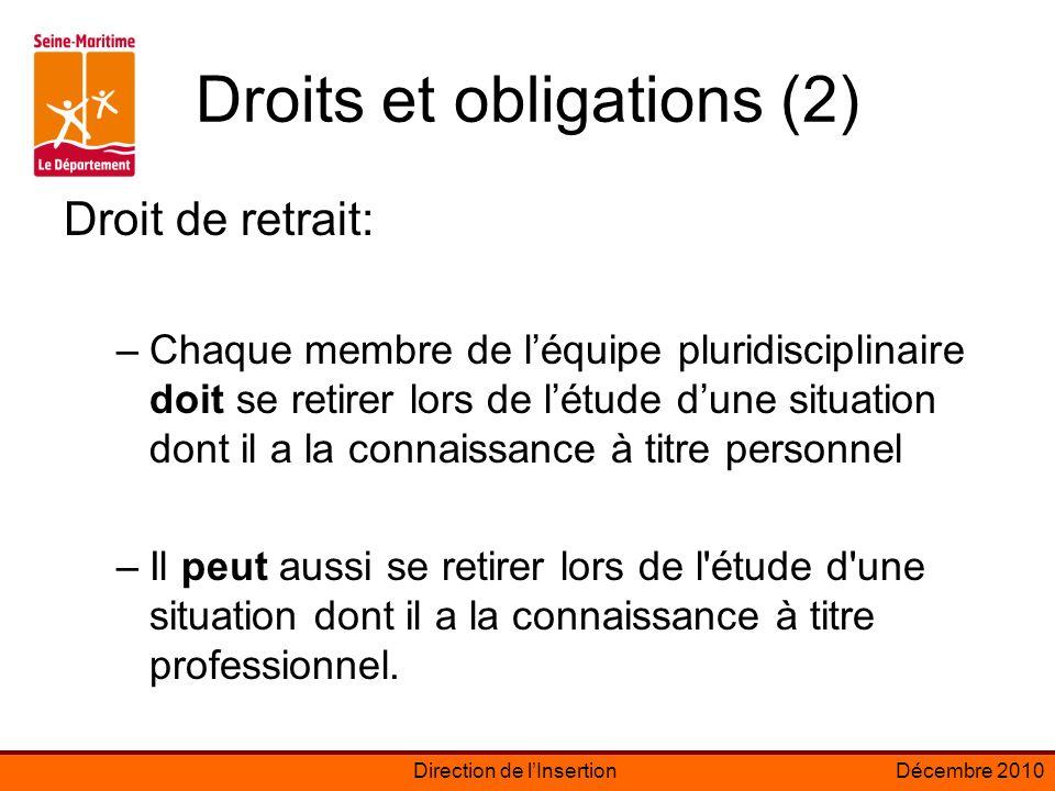 Droits et obligations (2)