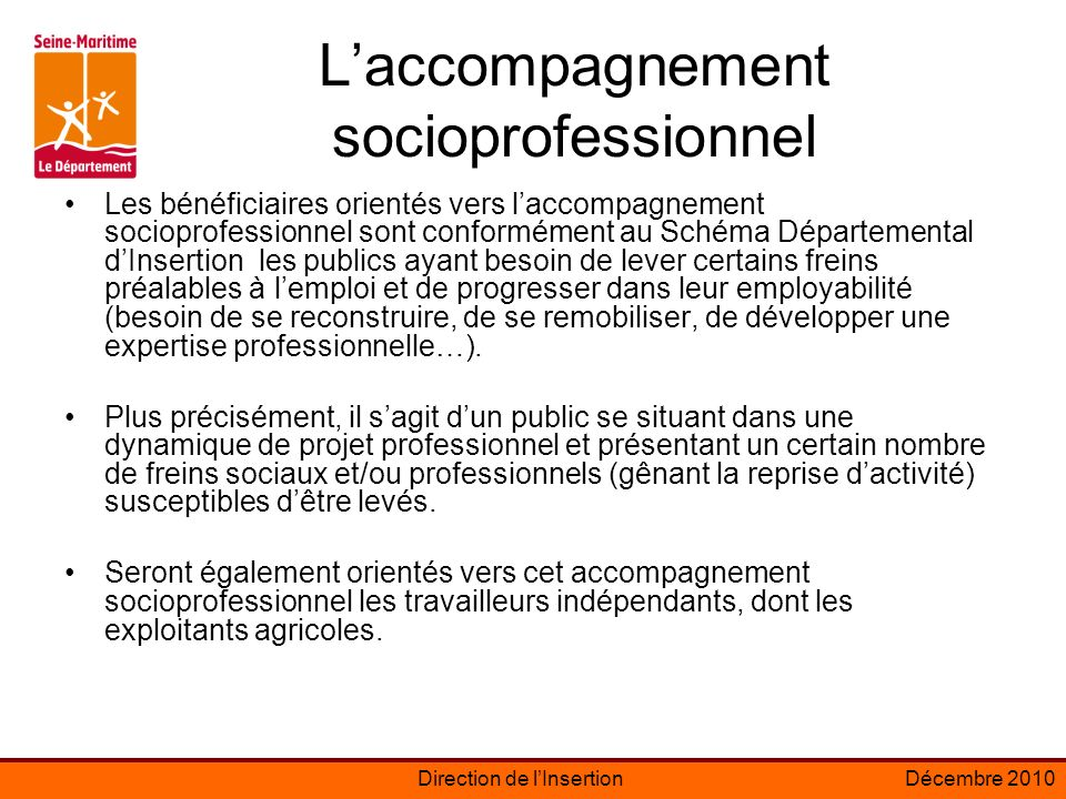 L'accompagnement socioprofessionnel