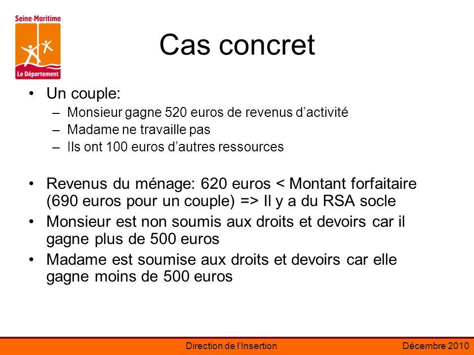 Cas concret Un couple: Monsieur gagne 520 euros de revenus d'activité. Madame ne travaille pas. Ils ont 100 euros d'autres ressources.