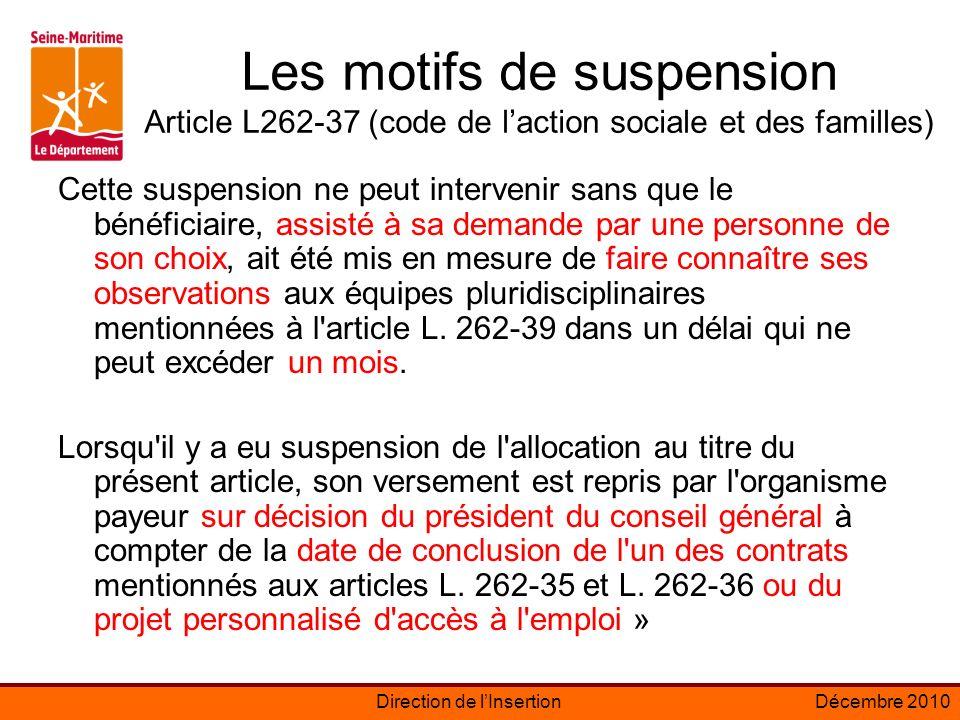 Les motifs de suspension Article L262-37 (code de l'action sociale et des familles)