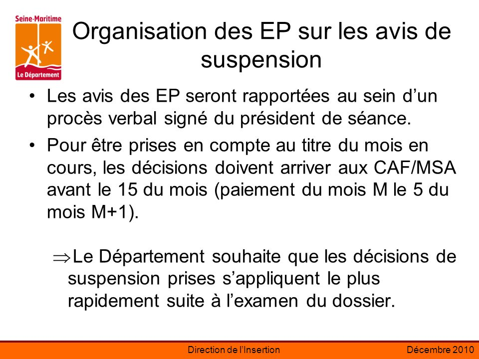 Organisation des EP sur les avis de suspension