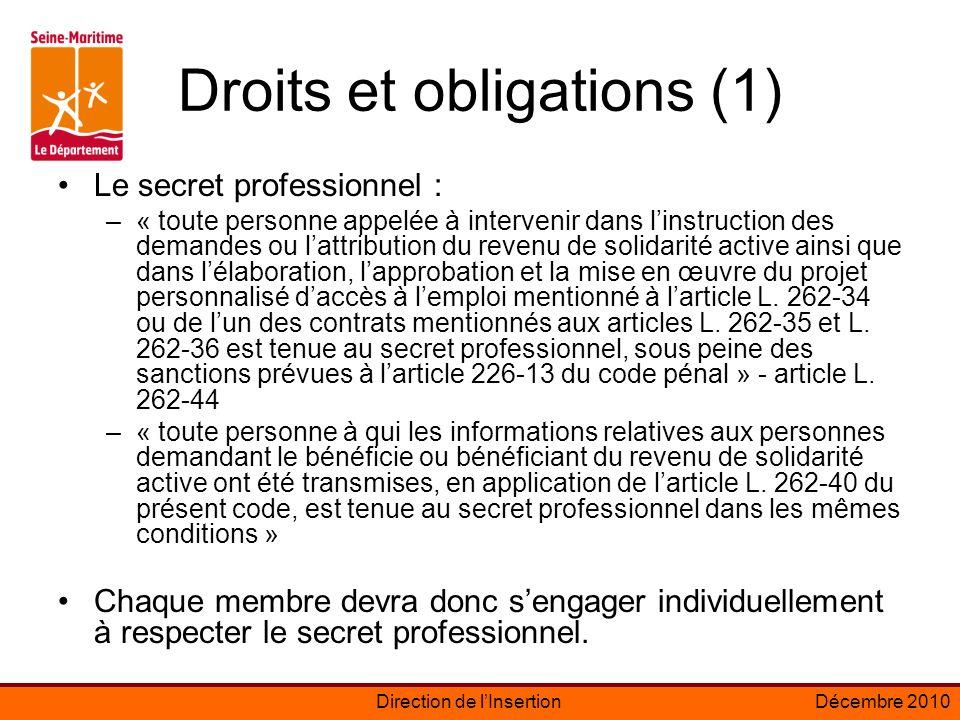 Droits et obligations (1)