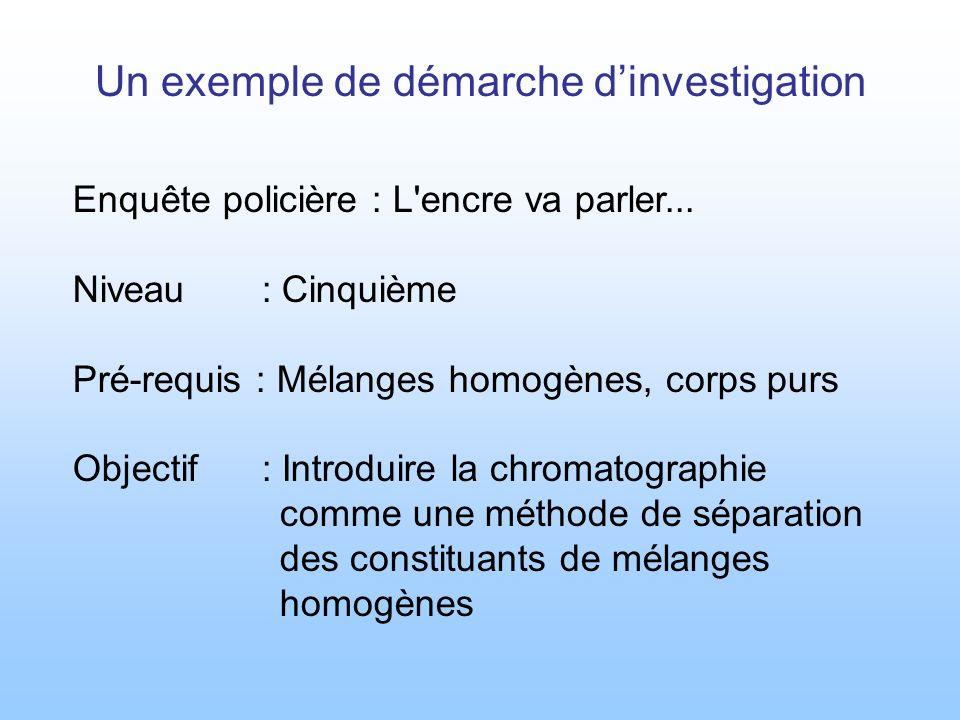 Un exemple de démarche d'investigation
