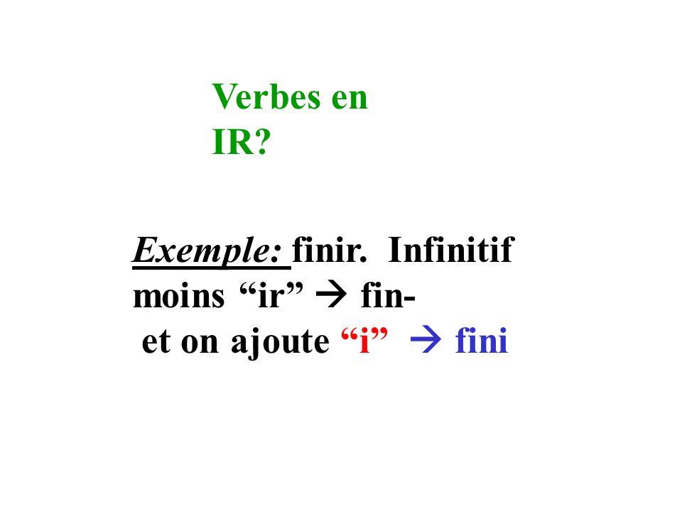 Verbes en IR Exemple: finir. Infinitif moins ir  fin- et on ajoute i  fini