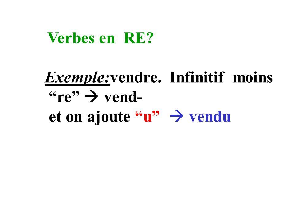 Verbes en RE Exemple:vendre. Infinitif moins re  vend- et on ajoute u  vendu