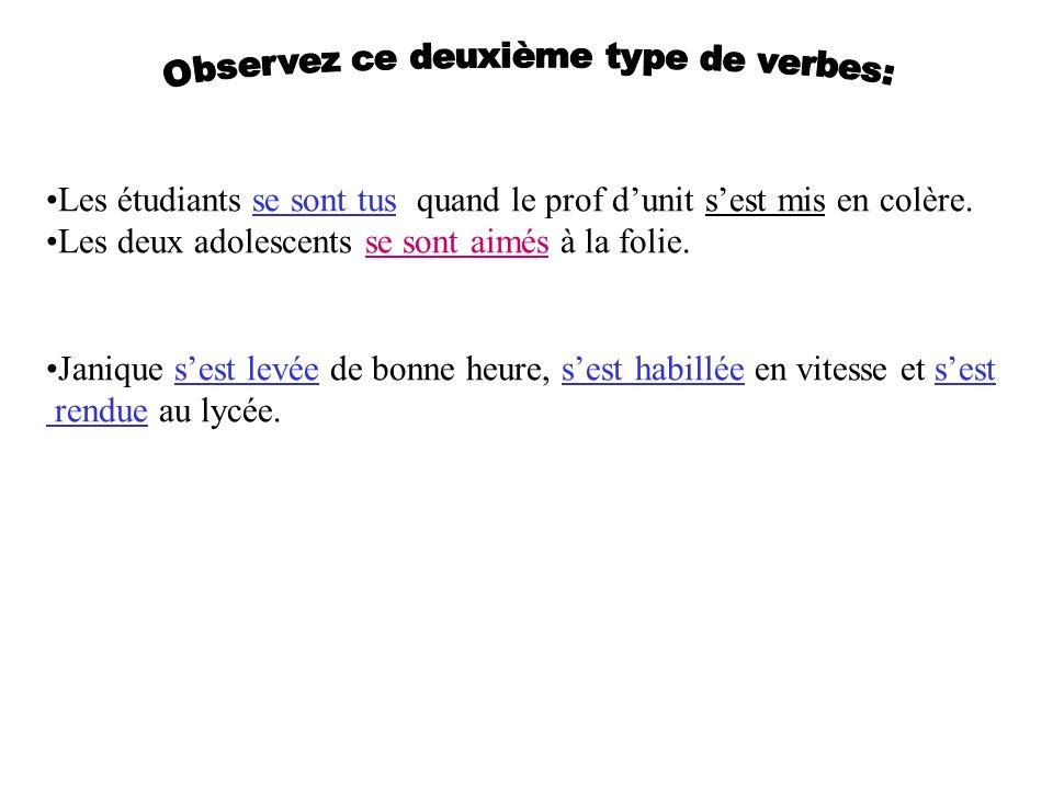 Observez ce deuxième type de verbes: