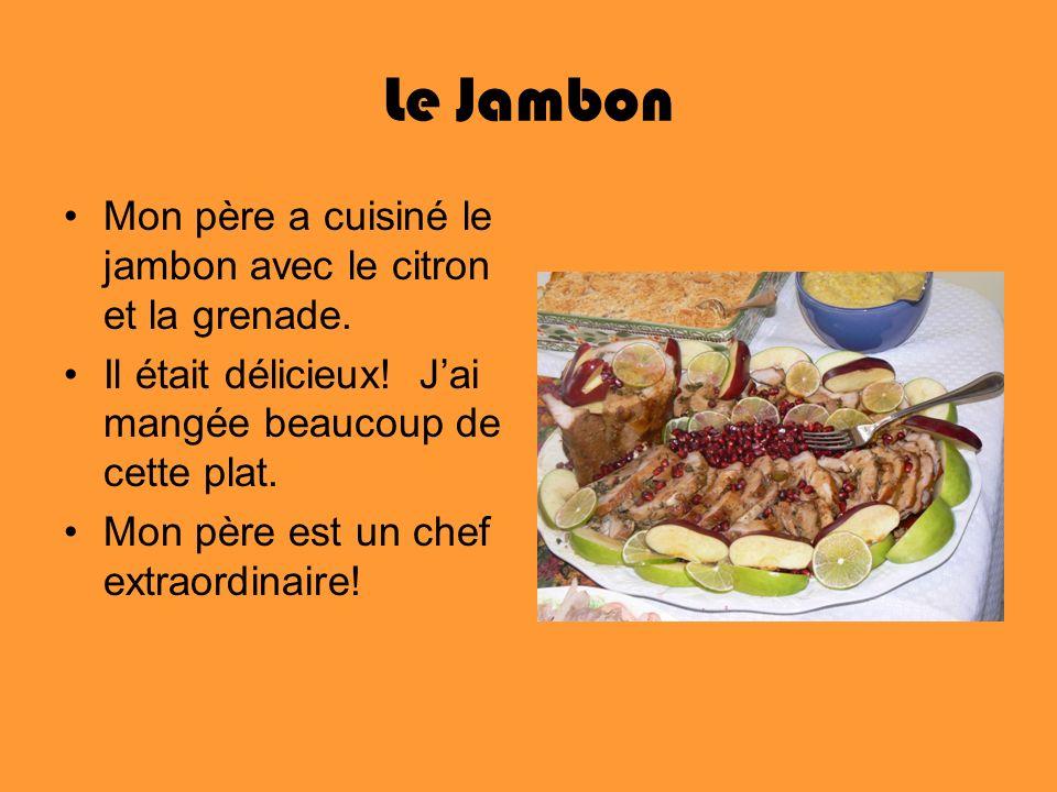 Le Jambon Mon père a cuisiné le jambon avec le citron et la grenade.