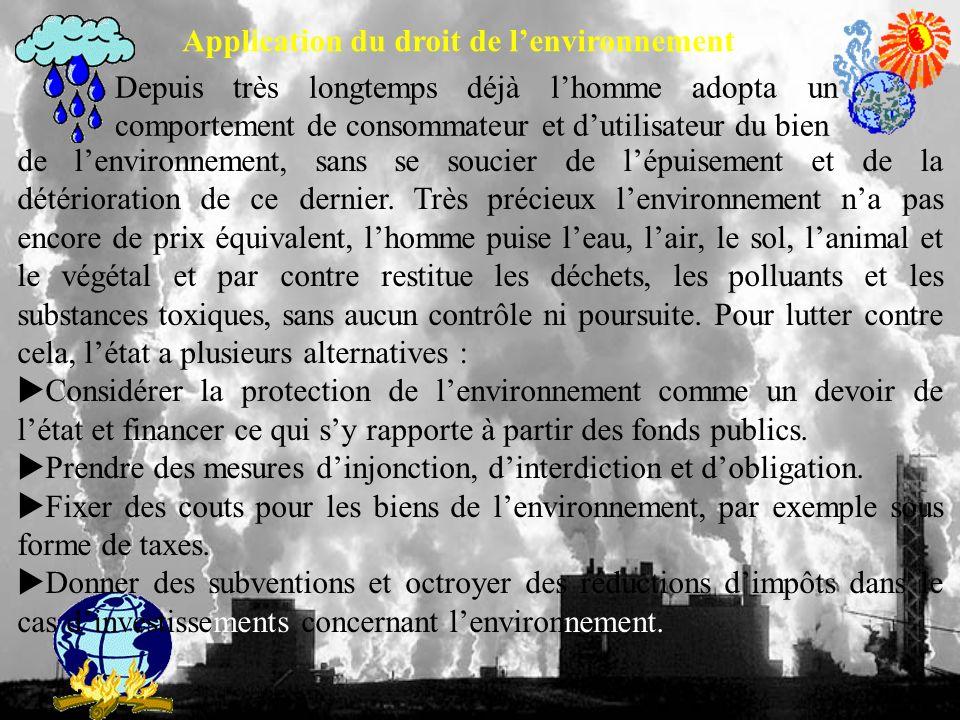 Application du droit de l'environnement