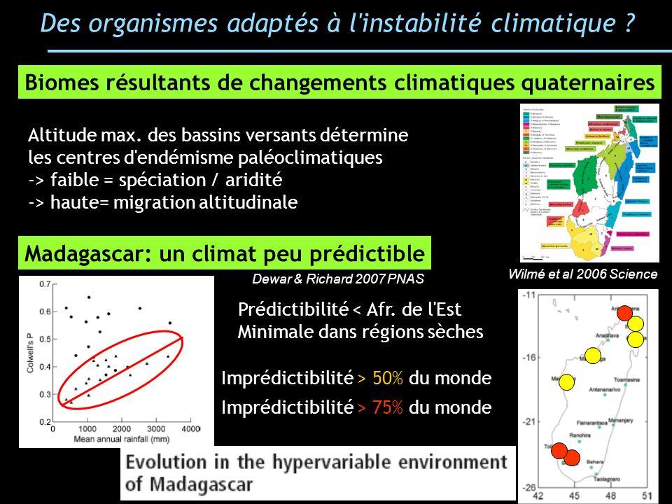 Des organismes adaptés à l instabilité climatique