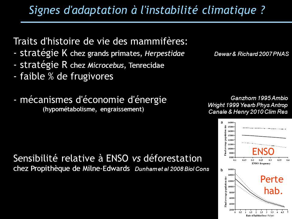 Signes d adaptation à l instabilité climatique