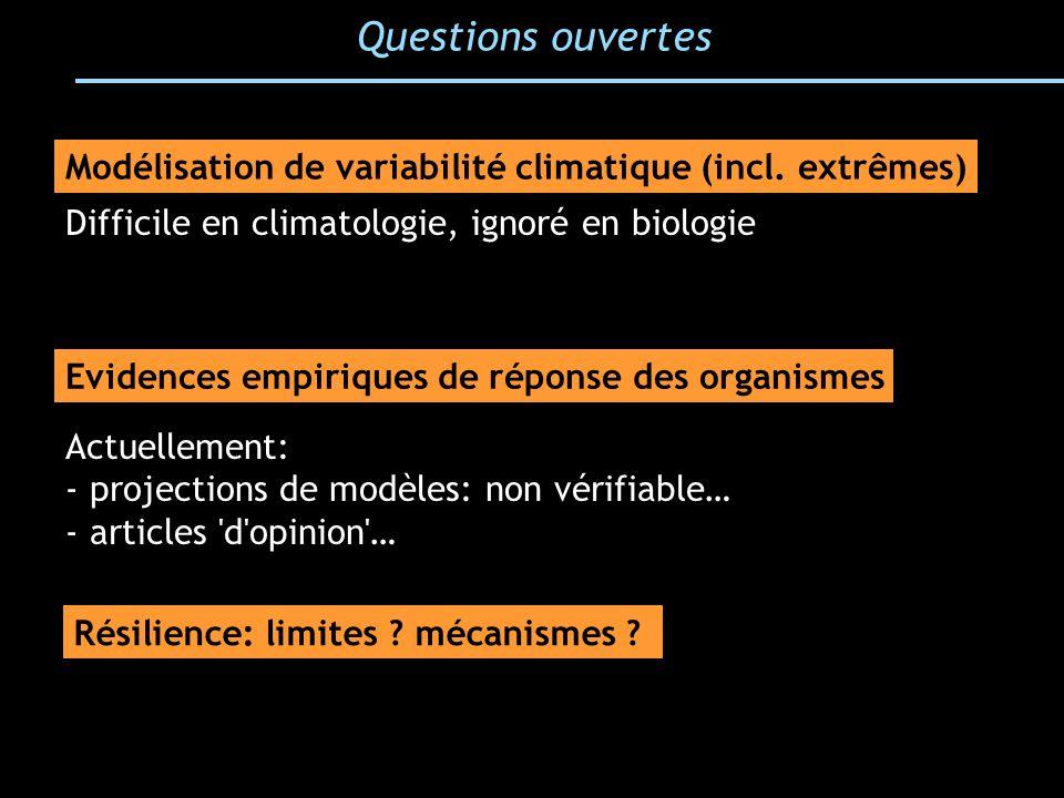 Questions ouvertes Modélisation de variabilité climatique (incl. extrêmes) Difficile en climatologie, ignoré en biologie.