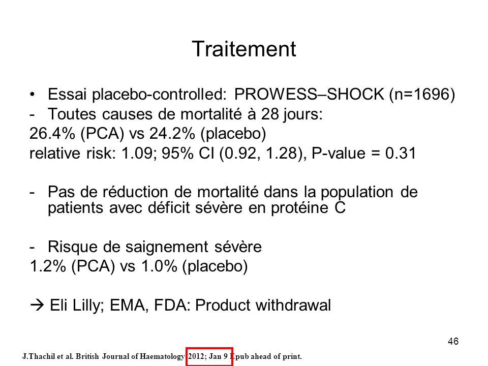 Traitement Essai placebo-controlled: PROWESS–SHOCK (n=1696)